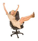 Business woman happy in chair Stock Images