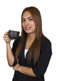 Business woman happy with drinking coffee. Stock Photo