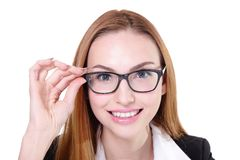 Business woman happy with eyeglasses Royalty Free Stock Photos