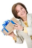 Business woman happy with gift Royalty Free Stock Photos