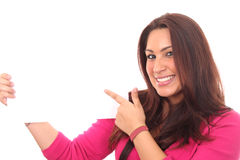 Business woman happy with her illustration Stock Photo