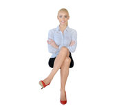 Business woman happy looking camera Stock Photography