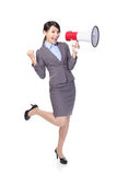 Business woman happy with a megaphone Stock Images