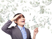 Business woman happy with money rain Royalty Free Stock Images