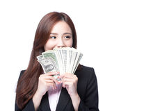 Business woman happy money. Business woman smile happy with handful of money isolated on white background, asian beauty model Stock Image