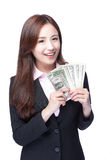 Business woman happy money. Business woman smile happy with handful of money isolated on white background, asian beauty model Stock Photos