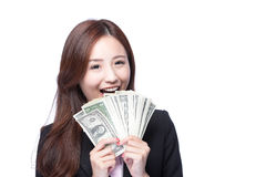 Business woman happy money. Business woman smile happy with handful of money isolated on white background, asian beauty model Stock Photography