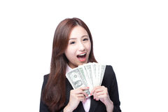 Business woman happy money. Business woman smile happy with handful of money  on white background, asian beauty model Royalty Free Stock Images
