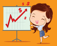 Business woman happy. Business woman presenting with success brief Royalty Free Stock Photo