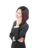 Business woman Happy Speaking Mobile phone. Isolated on white background, model is a asian beauty Stock Photos