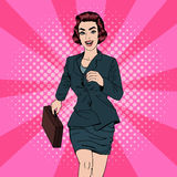 Business Woman. Happy Woman. Woman with Suitcase. Pop Art Banner Stock Photos