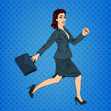 Business Woman. Happy Woman. Woman with Suitcase. Pop Art Banner Stock Image