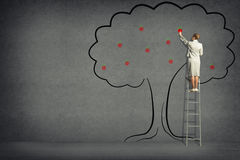 Business woman harvests from the tree Royalty Free Stock Photos