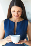 Business Woman Has Coffee Break at Office. Business People Stock Photos