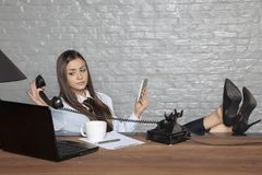 Business woman has enough phone calls. Portrait of a business person stock image