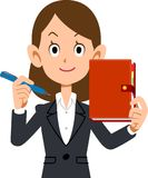 A Business woman has her notebook and pen with smile royalty free illustration