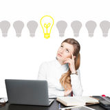 Business woman has an idea. Decision making process concept Stock Image