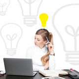 Business woman has an idea. Decision making process concept Stock Photography
