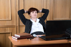 The business woman has made  break in work Royalty Free Stock Image