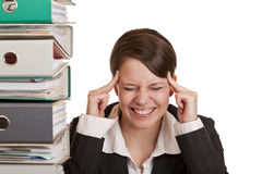 Business woman has migraine because of stress Royalty Free Stock Image