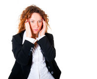 Business woman have a headache Royalty Free Stock Images