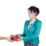 Business woman have a present Royalty Free Stock Image