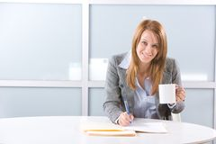 BUsiness woman having coffee Stock Images