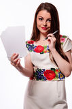 Business woman having a good idea - isolated over a white background Stock Images