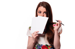 Business woman having a good idea - isolated over a white background Stock Photo
