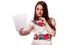 Business woman having a good idea - isolated over a white background Stock Image
