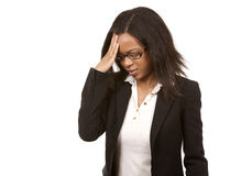 Business woman having a headache Royalty Free Stock Images