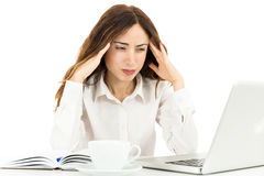 Business woman having headache royalty free stock photos
