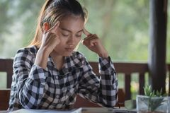 Business Woman Having Headache While Working Using Laptop Computer. Stressed And Depressed Girl Touching Her Head, Work Failure royalty free stock photos