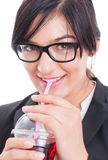Business woman having a healthy juice and break Stock Images