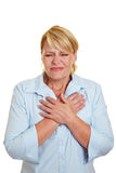 Business woman having heart attack Royalty Free Stock Photo