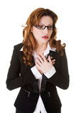 Business woman having heart attack. Royalty Free Stock Image