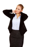 Business woman having huge neck pain Stock Images