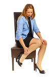 Business woman having leg pain Royalty Free Stock Photography