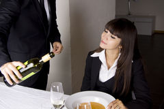 Business woman is having lunch Royalty Free Stock Photography