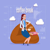 Business Woman Having Lunch During Coffee Break In Office Comfort Zone. Flat Vector Illustration Stock Image