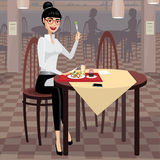 Business woman having lunch in the dining room Royalty Free Stock Photo