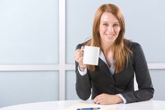 BUsiness woman having morning coffee Stock Photos