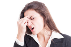 Business woman having a painful migraine after stress Stock Photography