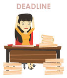 Business woman having problem with deadline. Royalty Free Stock Photography