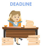 Business woman having problem with deadline. Stock Images
