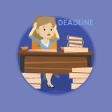 Business woman having problem with deadline. Royalty Free Stock Photo