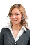 Business woman with head set Royalty Free Stock Photos