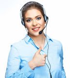 Business woman with head set show thumb up. Busine Stock Images
