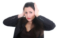 Business woman with a headache Royalty Free Stock Photos