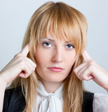 Business woman with headache Stock Image
